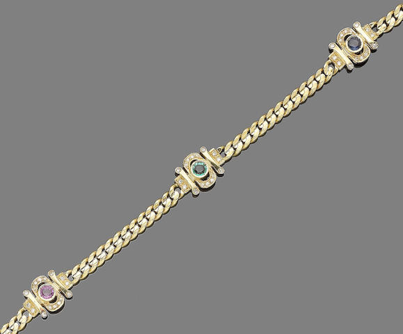 A gem-set necklace and bracelet suite (2) (partially illustrated)