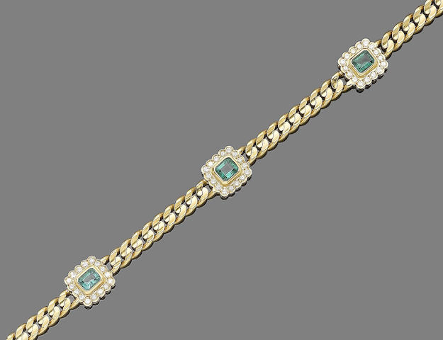 An emerald and diamond-set necklace and bracelet suite (2) (partially illustrated)