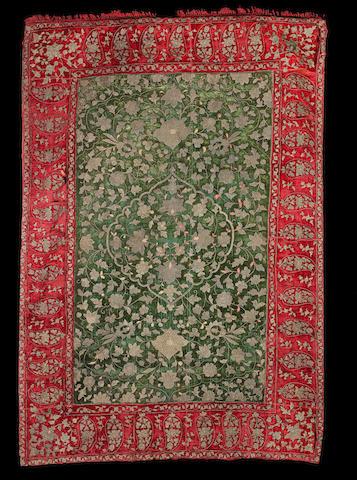 A Safavid metal-thread embroidered silk velvet Panel Persia, 18th Century