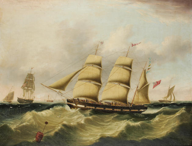 Joseph Heard (British, 1799-1859) The inward bound Liverpool barque John Tomkinson portrayed in two views  'boarding her pilot' in the River  Mersey's Formby Channel 1840