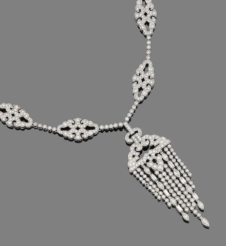 A diamond tassel necklace