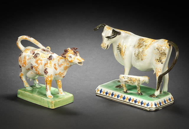 A Pratt Ware model of a cow and a Pratt Ware cow creamer and cover, circa 1810