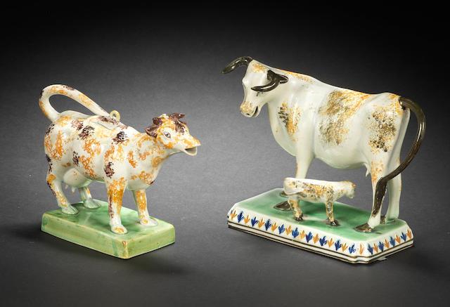 A Pratt Ware model of a cow and a Pratt Ware cow creamer and cover, circa 1810
