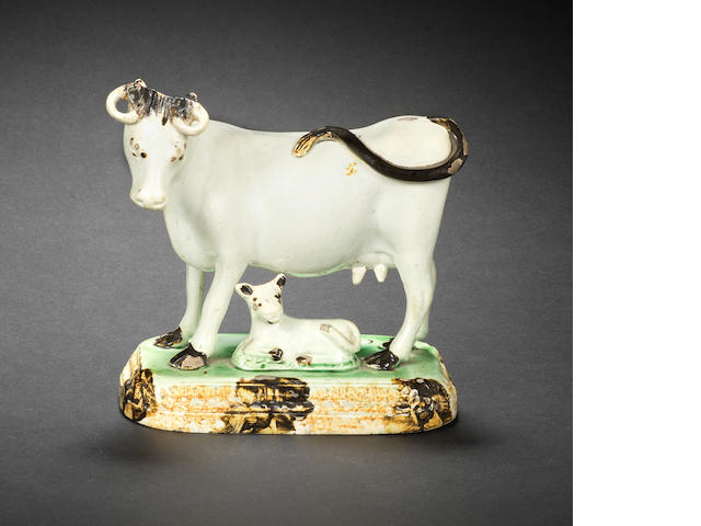 A Pratt Ware model of a cow, titled 'Fanny', circa 1800