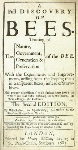 BEES RUSDEN (MOSES) A Full Discovery of Bees, 1685