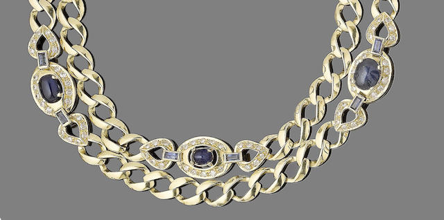 A sapphire and diamond-set longchain