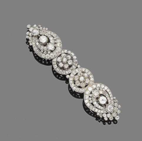 A mid 19th century diamond double-clip brooch