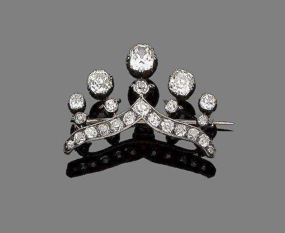 A diamond coronet brooch,