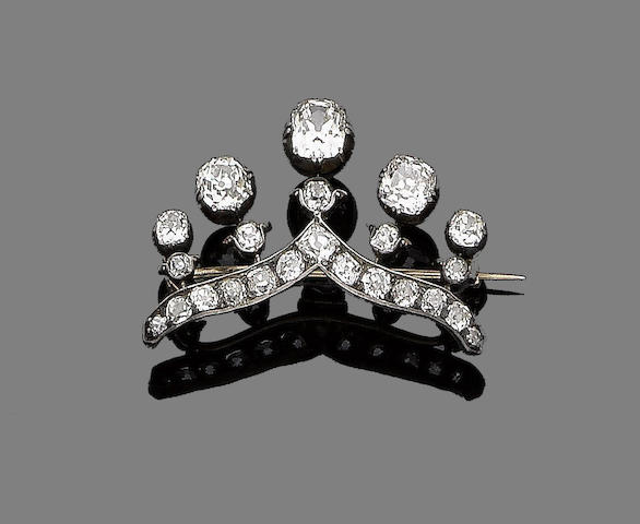 A diamond coronet brooch,