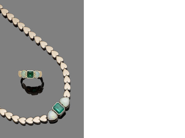 An emerald and opal necklace and ring suite (2)