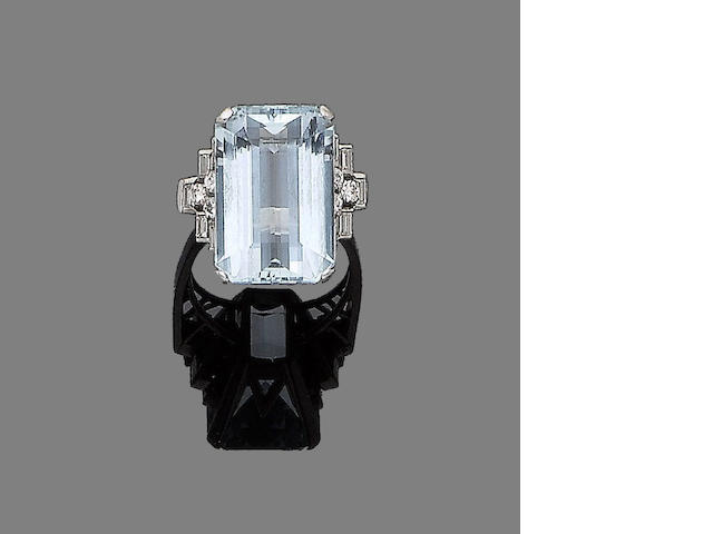 An aquamarine and diamond dress ring,