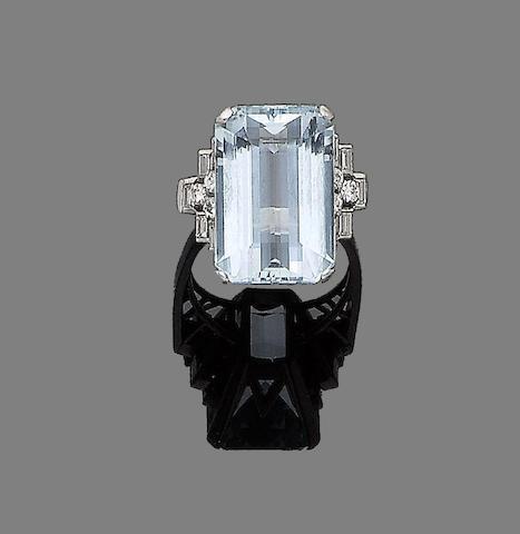 An aquamarine and diamond dress ring,