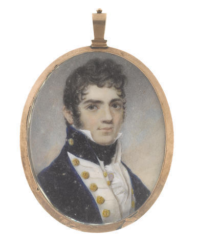 English School, circa 1810 Commander E. S. Crouch R.N. (d.1821), wearing dark blue coat with standing collar, white facings and waistcoat, both dressed with gold buttons, white concertinaed chemise and black stock
