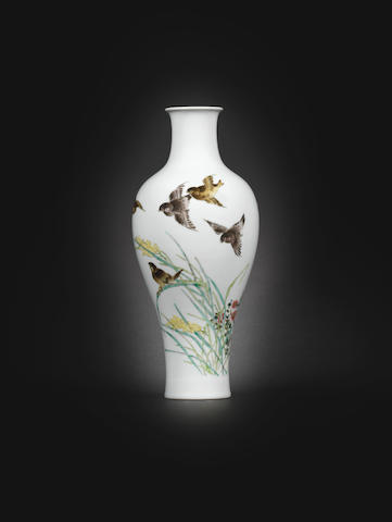 A famille rose baluster vase 20th century, signed Liu Yucen with Yucen seal