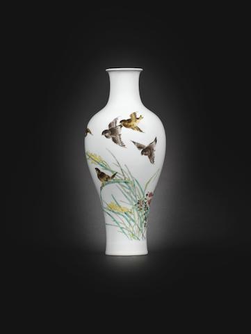 A famille-rose baluster vase, by Liu Yucen