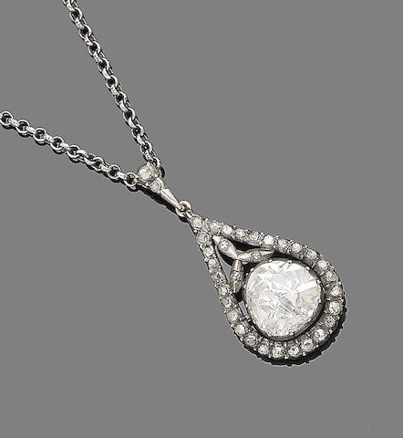 A 19th century diamond pendant/necklace