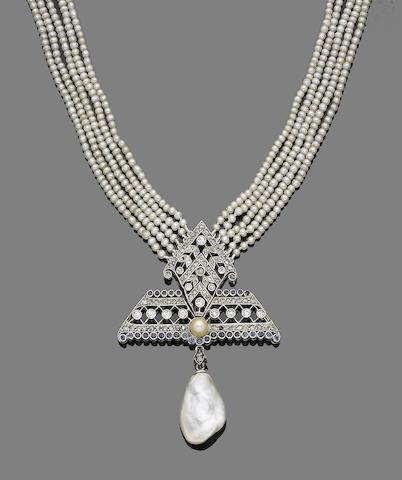 An early 20th century pearl, sapphire and diamond sautoir