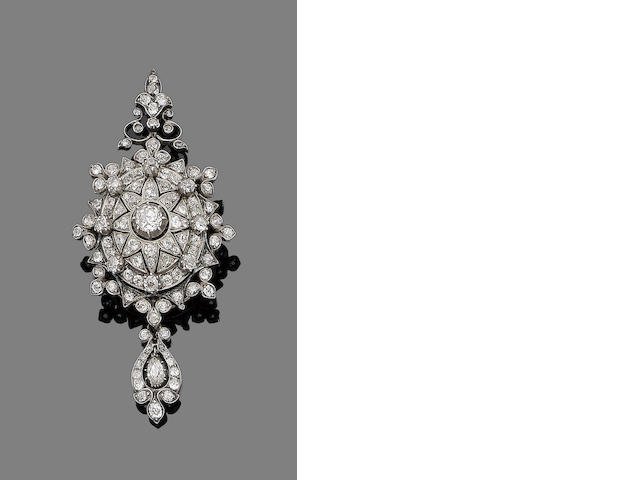 A late 19th century diamond pendant/brooch/hair ornament