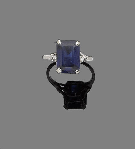 A sapphire and diamond-set ring