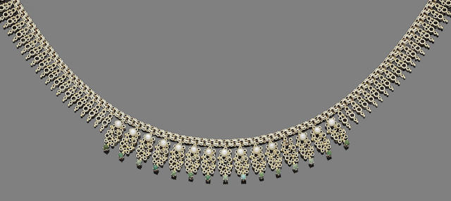 A seed pearl and turquoise fringe necklace