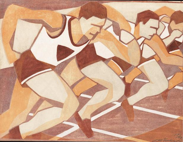 Lill Tschudi (Swiss, 1911-2001) Just Off, or The Start of the Race Linocut printed in brown, orange and beige, 1932, a richly inked impression, on oriental laid tissue, signed, titled and numbered 17/50 in pencil, with margins, 200 x 260mm (7 7/8 x 10 1/4in)(B)(unframed)