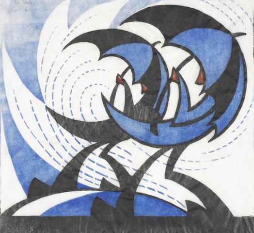 Sybil Andrews, CPE (British/Canadian, 1898-1993) The Gale Linocut printed in permanent blue, spectrum red and black, 1930, on buff oriental laid tissue, signed, titled and numbered 20/50 in pencil, with margins, 210 x 246mm (8 1/4 x 9 7/8in) (B)