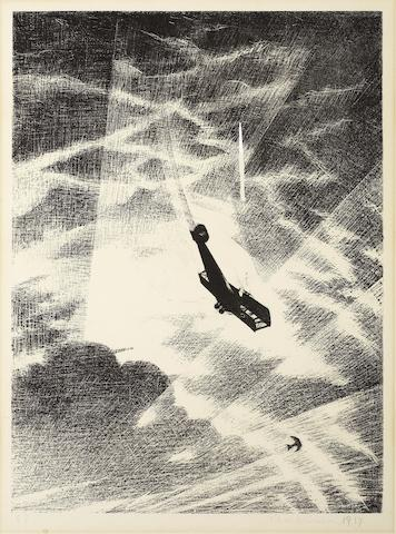 Christopher Richard Wynne Nevinson A.R.A. (British, 1889-1946) Swooping down on a Taube (Leicester Galleries 28) Lithograph, 1917, on Holbein wove, signed, dated and numbered 58 in pencil, from the edition of 200, as included in 'Building the Aircraft', printed by Ernest Jackson, published by the Stationary Office as part of the series 'The Great War: Britain's Efforts and Ideals', with margins, 400 x 298mm (15 7/8 x 11 3/4in)(I) unframed