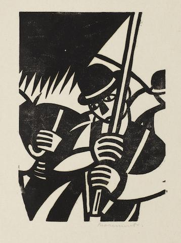 Leonard Beaumont (British, 1891-1986) Marchers The rare linocut, 1932, one of only a few impressions, on thin oriental laid, signed in pencil, with margins, 126 x 90mm (5 x 3 1/2in)(B) unframed