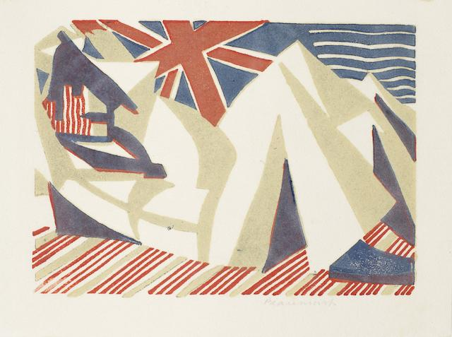 Leonard Beaumont (British, 1891-1986) Sleeping Sailor The rare linocut printed in colours, 1931, a strong, vibrant impression, on white thin oriental laid, signed in pencil, with full margins, 90 x 126mm (3 1/2 x 5in)(B) unframed