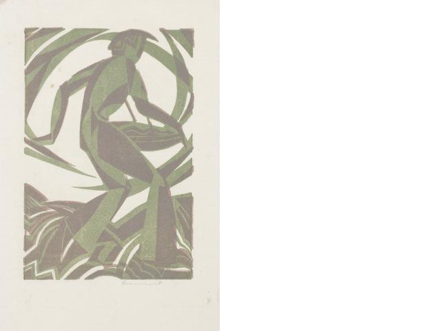 Leonard Beaumont (British, 1891-1986) The Sower Linocut printed in colours, 1933, a good impression, one of only a few impressions, on thin oriental laid, signed in pencil, with full margins, 153 x 102mm (6 x 4in)(B) unframed