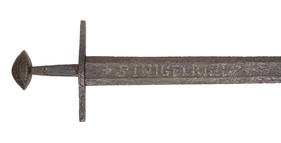A Rare Sword Of Viking Type With Sinigelrinis Inscription