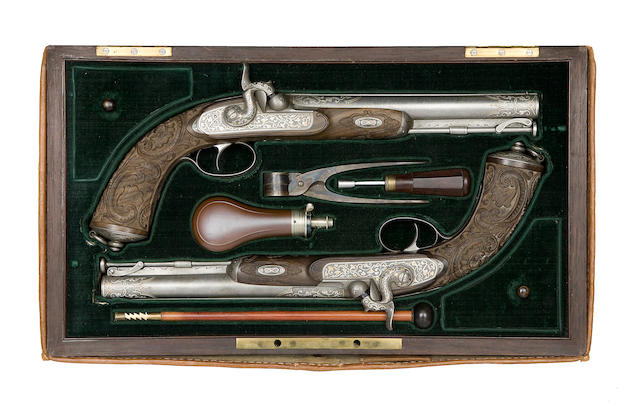 A Fine Cased Pair Of 20-Bore Percussion Target Pistols
