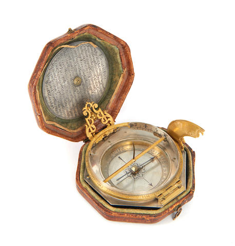 A Johann Willebrand silver and gilt brass Augsburg dial, Augsburg, early 18th century, (2)