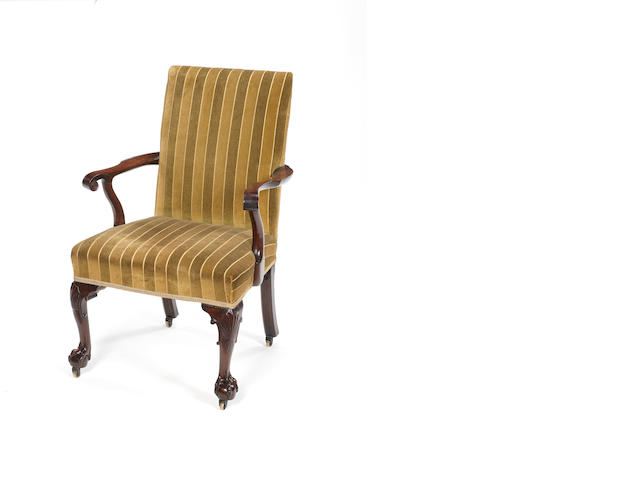 A George II carved mahogany open armchair  early Gillows?