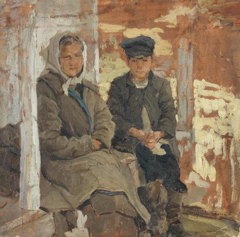 Nikolai Petrovich Bogdanov-Bel'sky (Russian,1868-1945) Waiting patiently