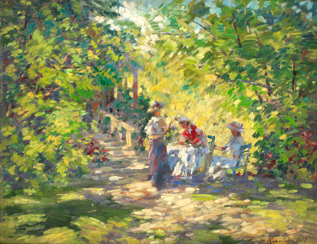 Konstantin Alexeevich Korovin (Russian, 1861-1939) A sun-drenched garden