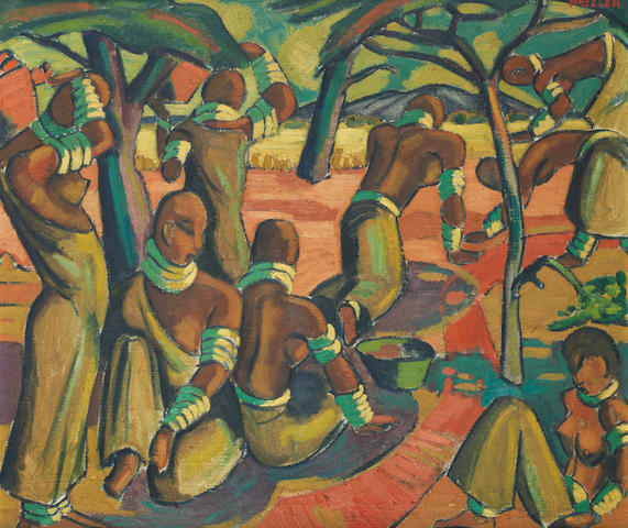 Alexis Preller (South African, 1911-1975) 'Native Study (Mapogges)'