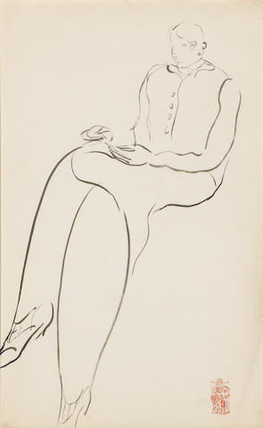 Sanyu (1901-1966) Seated Girl Drawing