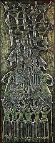 Bruce Onobrakpeya, Metal foil relief, Aro Ezomo Agban (10/10)