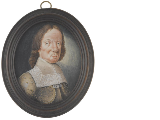 English School, Late 18th Century Oliver Cromwell (1599-1658), Lord Protector of England (1653-1658),  wearing gold studded armour with buff trim and white lawn collar with lace border