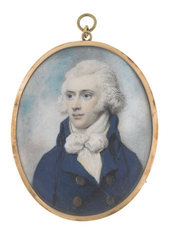 Richard Cosway, R.A. (British, 1742-1821) A Gentleman, wearing double-breasted blue coat with large brass buttons, cream waistcoat and large tied white cravat, his hair powdered