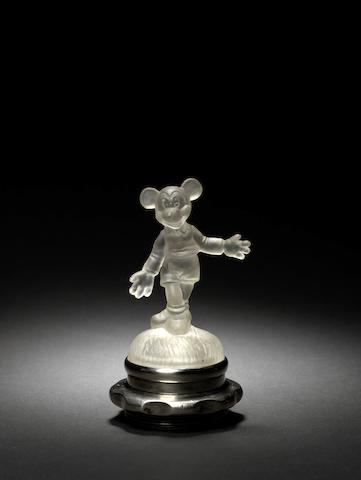 A 'Mickey Mouse' glass mascot, by The American Cut-Crystal Corporation, Italy,