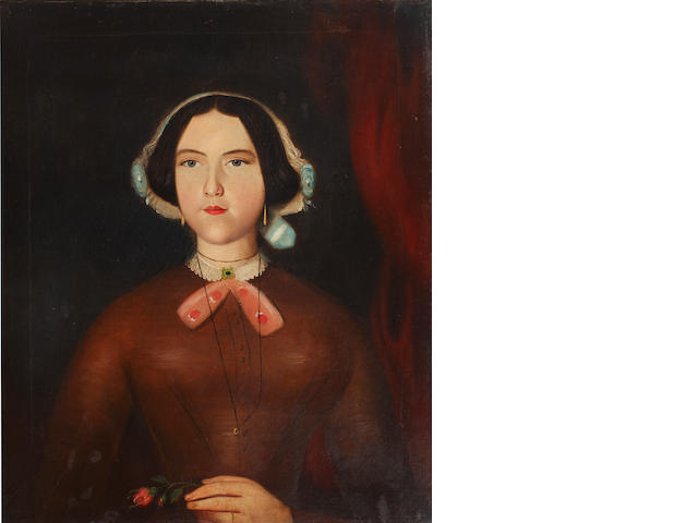 English Primitive School, 19th Century Portrait of a young lady