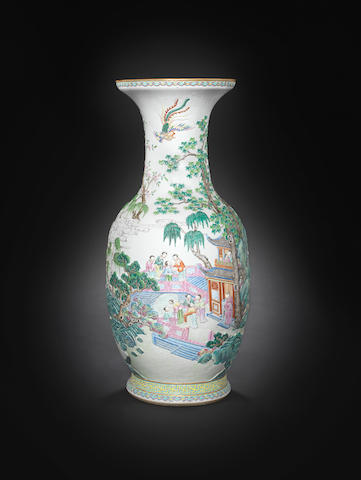 A large famille rose relief decorated vase, Jiaqing