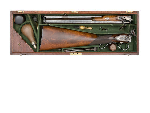 A Fine And Very Rare Cased 16-Bore Flintlock Take-Down Rifled Carbine