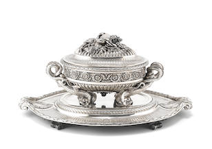 The Sachsen-Teschen Tureen, An important late 18th century Austrian silver soup tureen and stand
