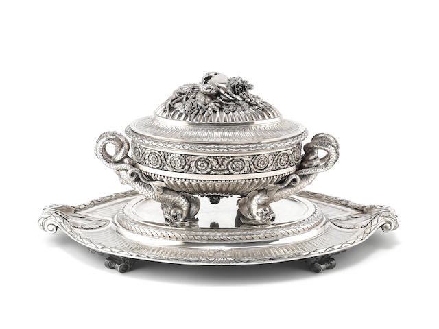 The Sachsen-Teschen Tureen, An important late 18th century Austrian silver soup tureen and stand, by Ignaz Josef Wurth Vienna 1781, stand and liner 1780, and early 19th century Austrian control marks,