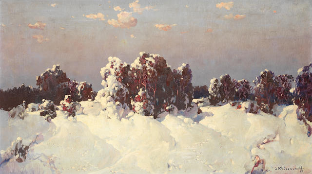 Stepan Fedorovich Kolesnikov (Russian, 1879-1955) Snow-laden landscape