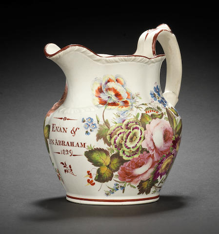 A good Swansea pottery jug by Henry Morris, dated 1829