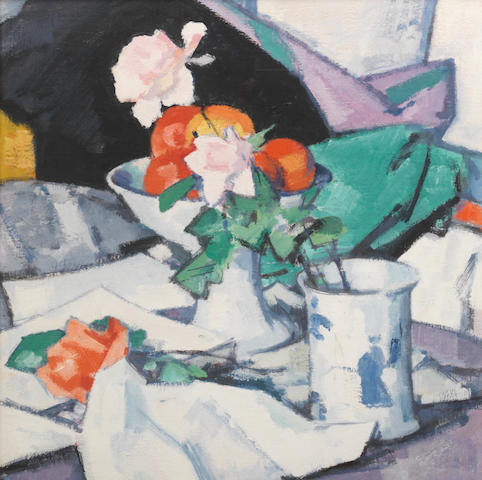 Samuel John Peploe, RSA (British, 1871-1935) Still Life, Roses and Chinese Blue 54.5 x 50 cm. (21 5/8 x 19 3/4 in.)